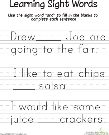 Learning Sight Words Learning Sight Words Worksheets And Word