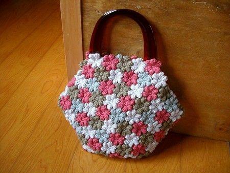 crocheted flower bag. Love it!