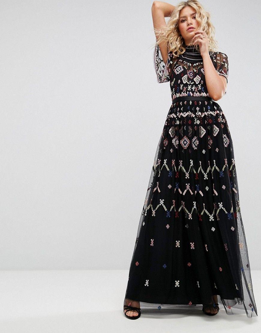 e5adbef54b8 Needle   Thread Embroidered Maxi Dress - Black