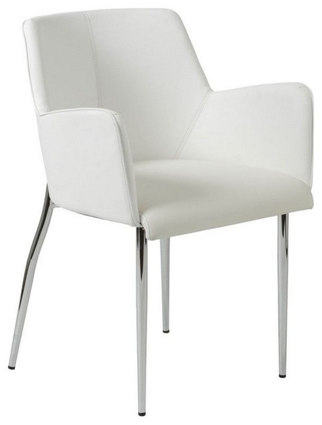 Modern White Leather Dining Room Chairs, White Dining Room Chairs With Arms