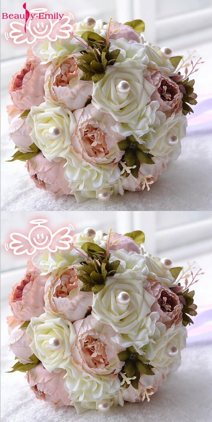 2017 Bride Bouquet Vintage Artificial Flower Wedding Bouquet Peony