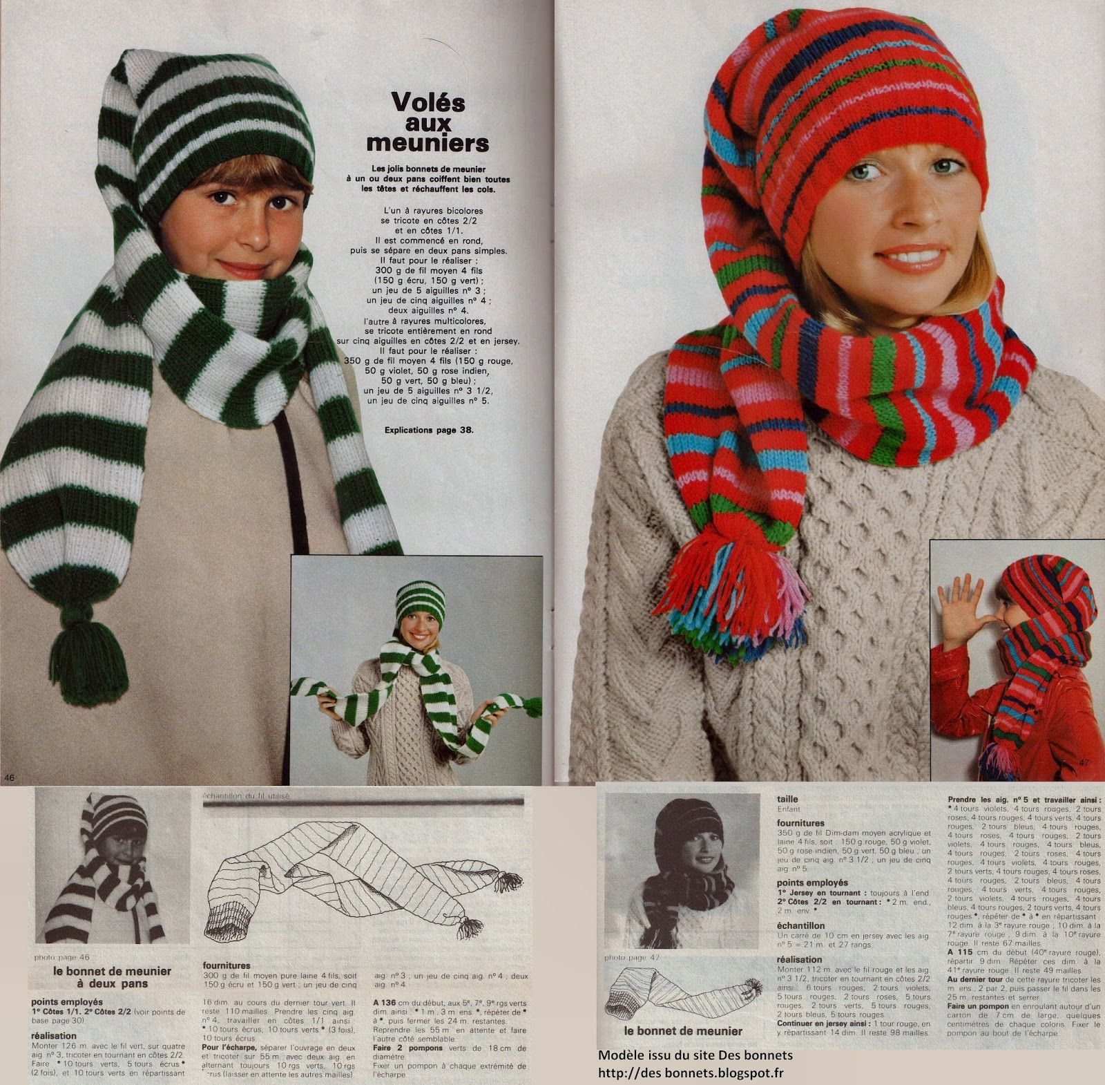 172766ce6ed1 Des bonnets  Bonnets de meunier Bonnet Tricot, Bonnet Echarpe, Meunier,  Modèles Enfant