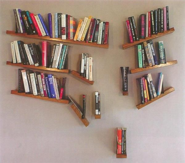 Unique Bookshelves creative falling apart bookshelf | unique bookshelves for your