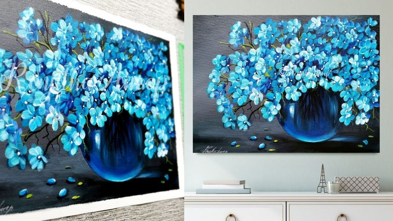 Beautiful Acrylic Painting Blue Flower Painting On Canvas Flower