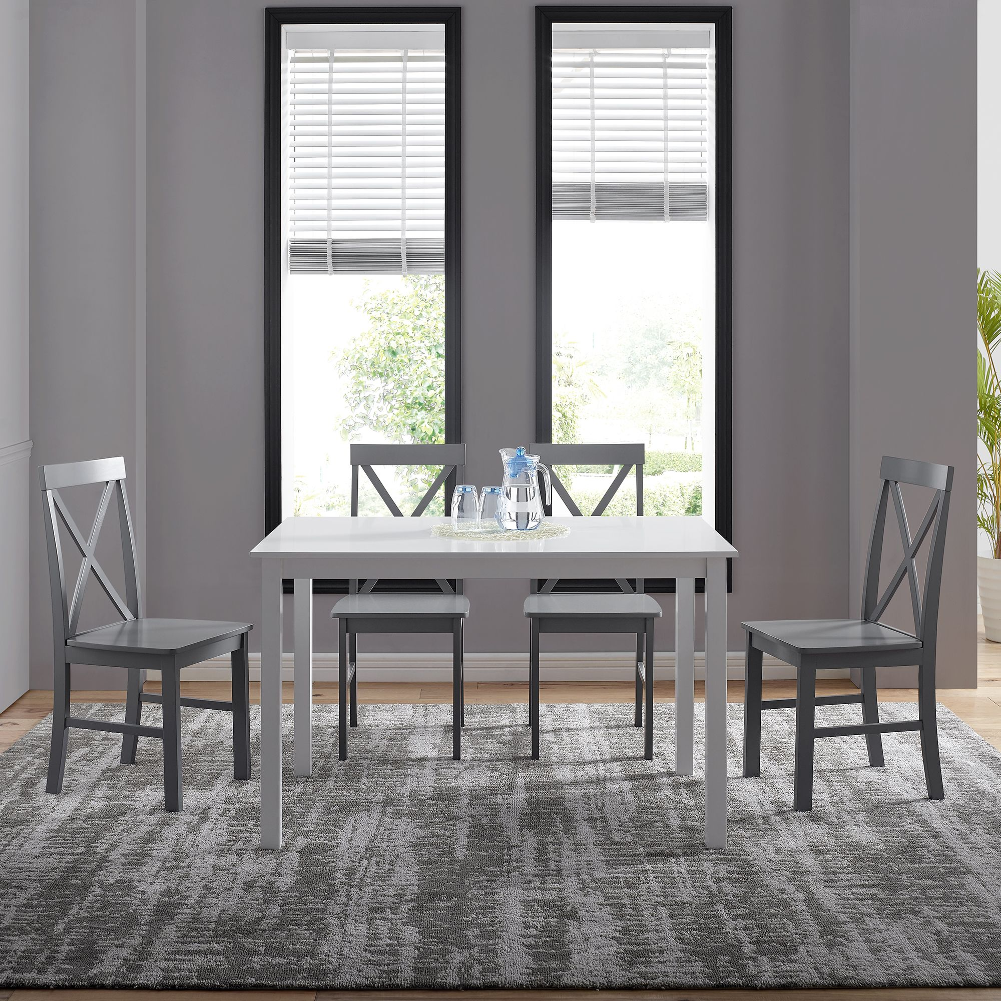 Manor Park 5Piece Solid Wood Farmhouse Dining Set White