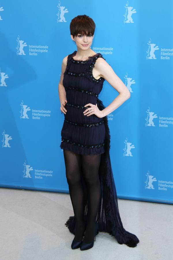 Anne Hathaway in navy Chanel tulle dress. Find this Pin and more on Celebrity  Mini dresses ... b3cd04e0f2f2