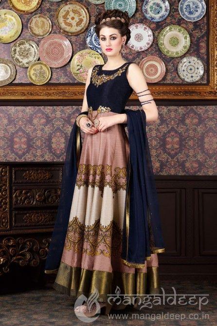 Enchanting Multicolor Zurich Silk Unstiched Anarkali Suit    #Multicolor, #Anarkali, #SalwarSuit