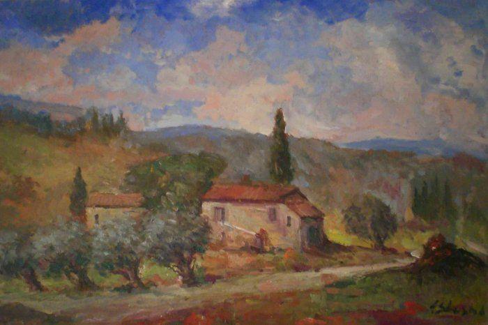Quadri paesaggi, campagne toscane, filari, dipinti ad olio e disegni ...
