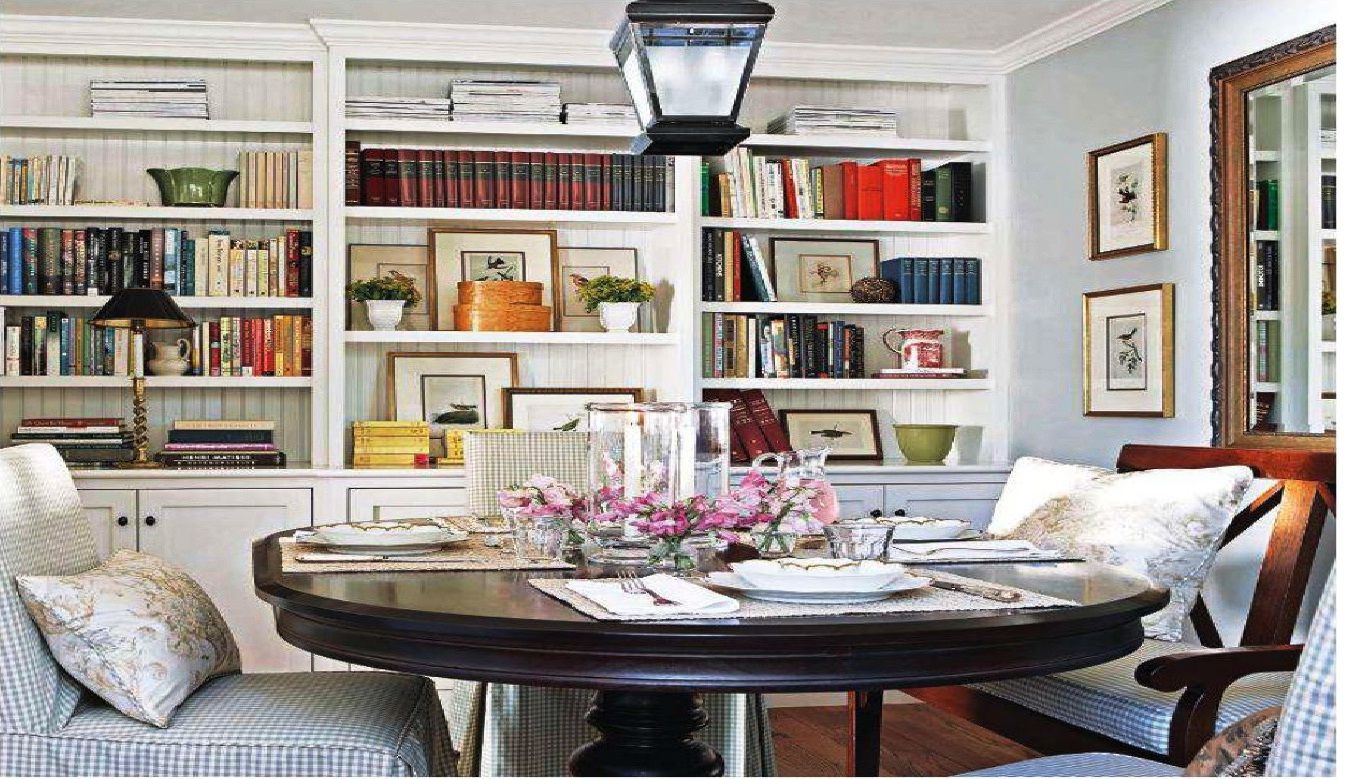Multi Purpose Dinning Room Build In Bookcases Cabinets Use For