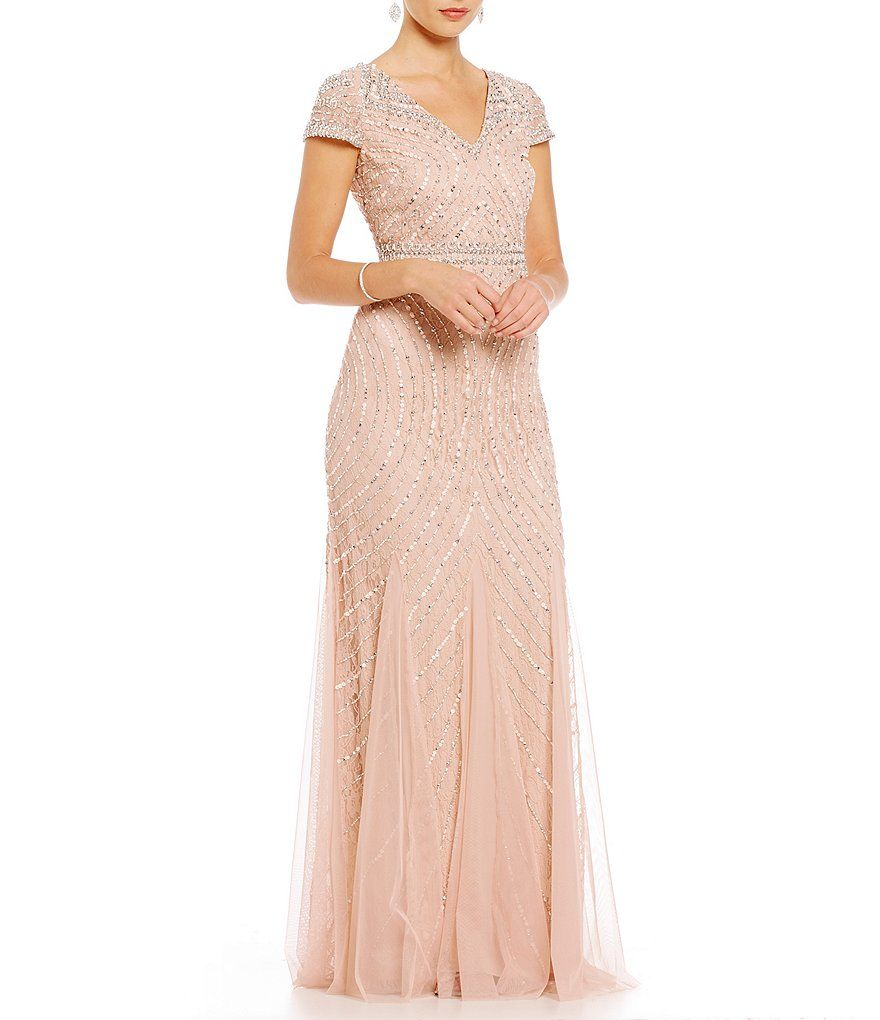 Adrianna Papell Petite V-Neck Cap Sleeve Sequin Beaded Lace Gown ...