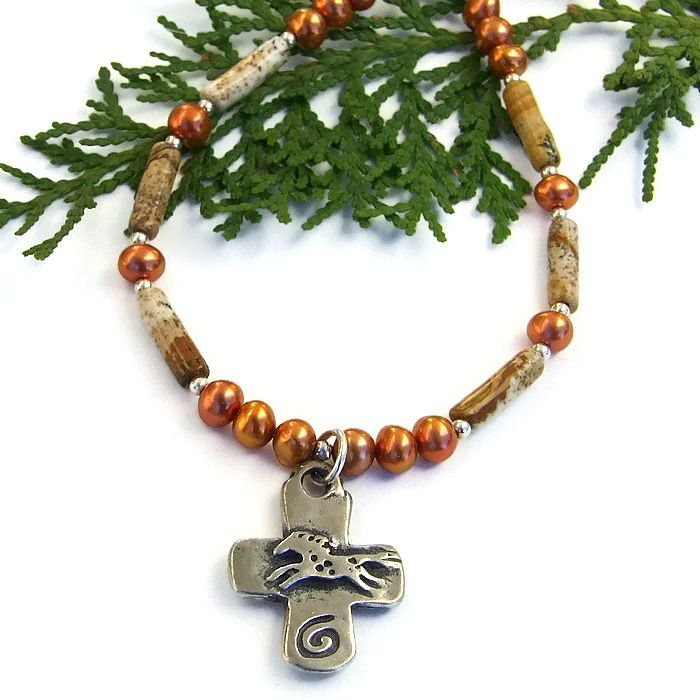 #Horse and #Heart Rustic #Cross #Necklace, Picture Jasper Southwest Gemstone #Handmade Jewelry by @ShadowDog #ShadowDogDesigns #Indiemade #butterflyspin - $45.00 - SOLD