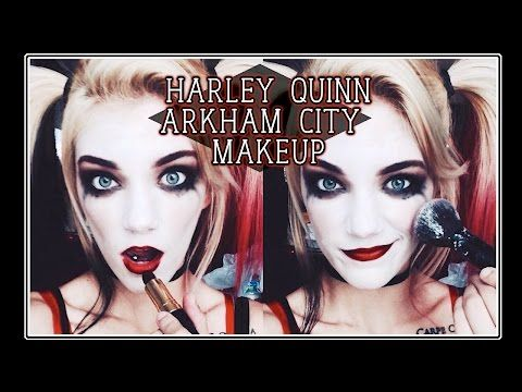 cdca84b6ed2c Arkham City Inspired Harley Quinn Makeup - YouTube