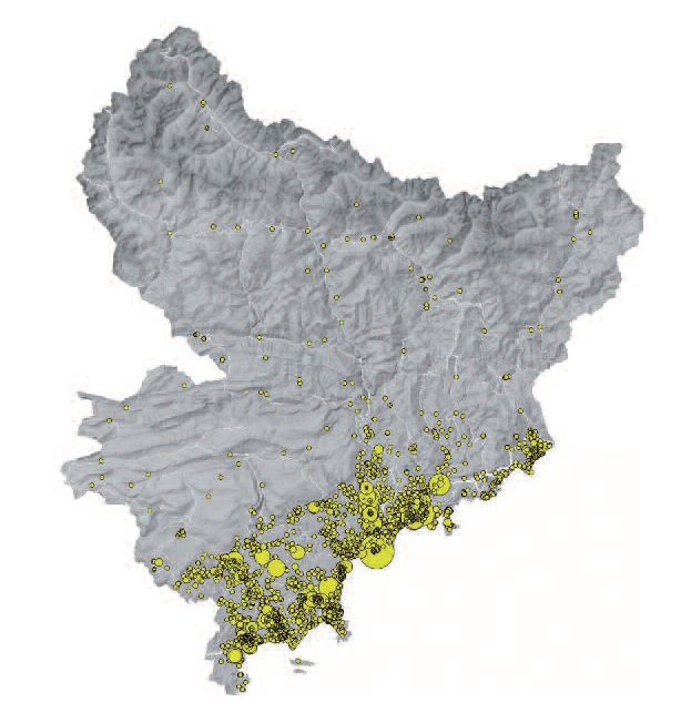 carte Equipements commerciaux Alpes-maritimes Source : CCI Nice Côte d'Azur - 2018