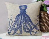"1 cotton Octopus Ocean pattern white decorative pillow cover /  cushion cover / simple design 18"". $22.00, via Etsy."