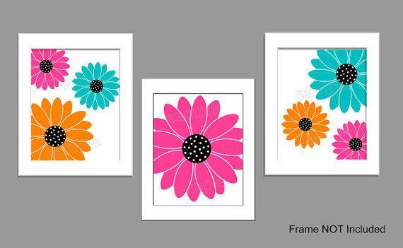 Teal Pink Orange Daisy Flower Wall Art for Bedroom, Bath Room or ...