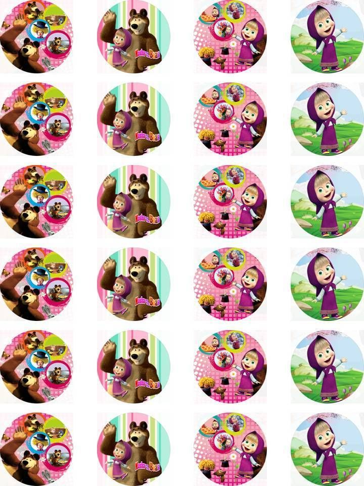 Masha and the Bear Edible Wafer Card 24 Precut Cupcake/Fairy cake Toppers in Crafts, Cake Decorating | eBay