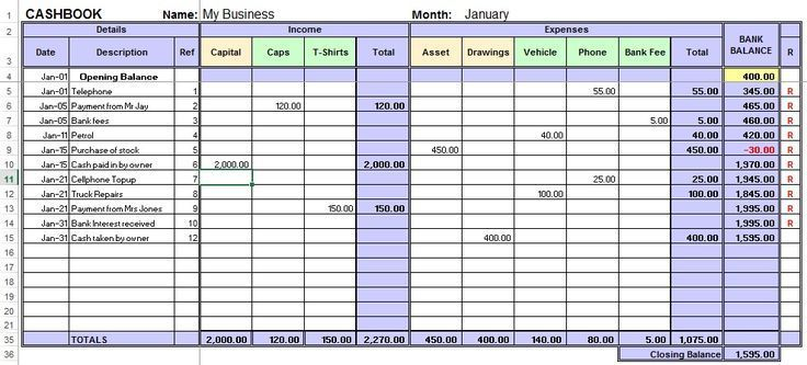 Excel Cash Book For Easy Bookkeeping Bookkeeping