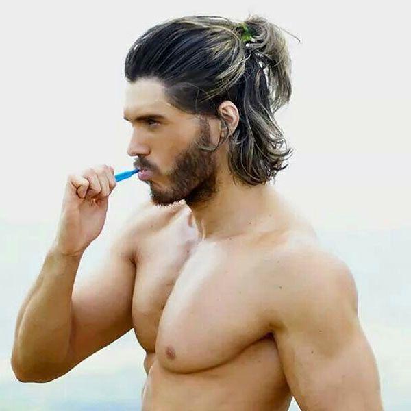 The New Man Bun: The Half Ponytail for Men | Medium length hair men, Long hair styles men, Hair styles