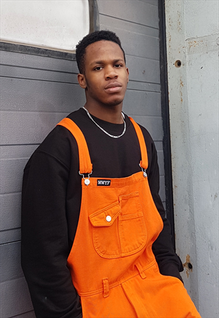EXCLUSIVE OVERSIZED BAGGY 90S FIT DUNGAREES IN ORANGE DENIM- WWYF