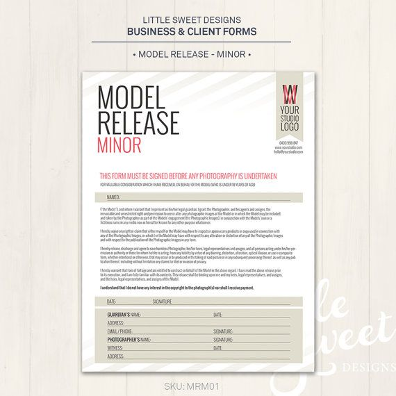 Photography Model Release Form (Minor) - Photoshop Template for - photographer release forms
