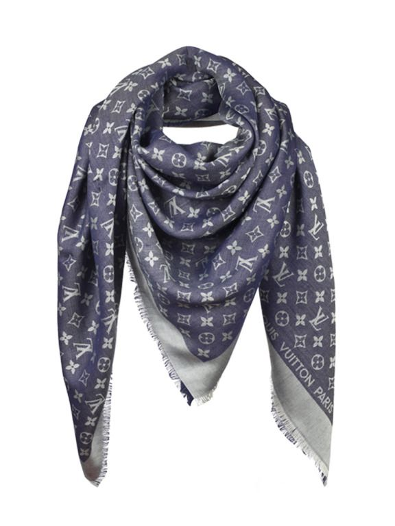 Louis Vuitton Blue Monogram Scarf   From a collection of rare vintage  scarves at https  00244c98e5d