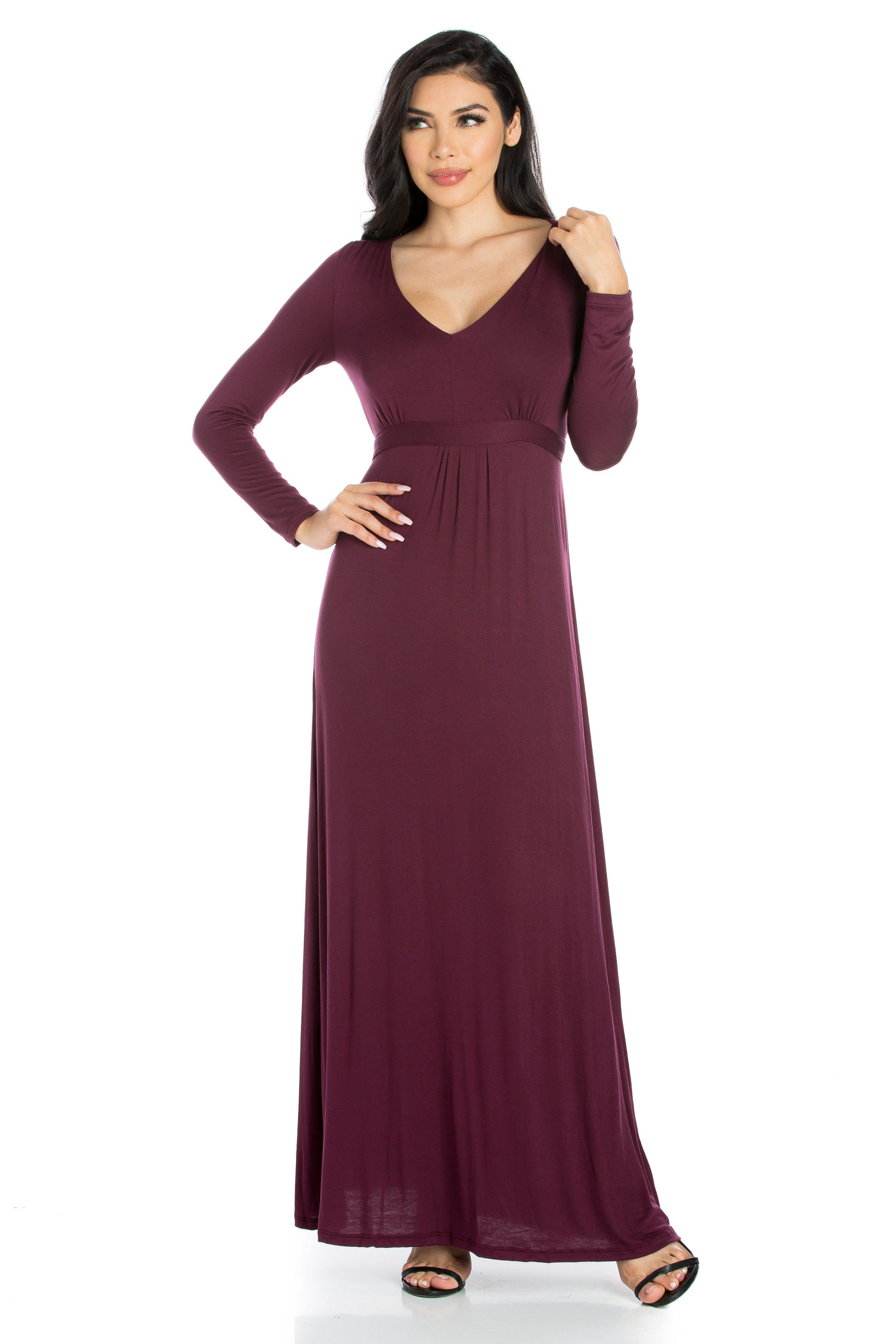 3c175e374c9 ... Dresses by 247 Comfort Apparel. Enchanting Long Sleeve V Neck Maxi  Dress Long Sleeve V Neck Maxi Dress This elegant but