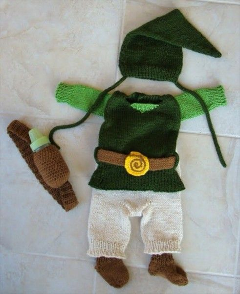 f91ca4e8d01 Hand-Knit Zelda Baby Clothes (includes pattern!) This is all our baby would  wear lol