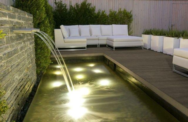 wpc dielenboden terrasse belegen sitzecke wasserspiele garten, Gartengestaltung