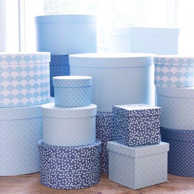 New boxes in stores now. Prices from DKK 5,90 / € 0,86 / SEK 7,90 / NOK 7,90 #new #boxes #æsker #rundeæsker #bluemood #opbevaring #organization #søstrenegrene #sostrenegrene