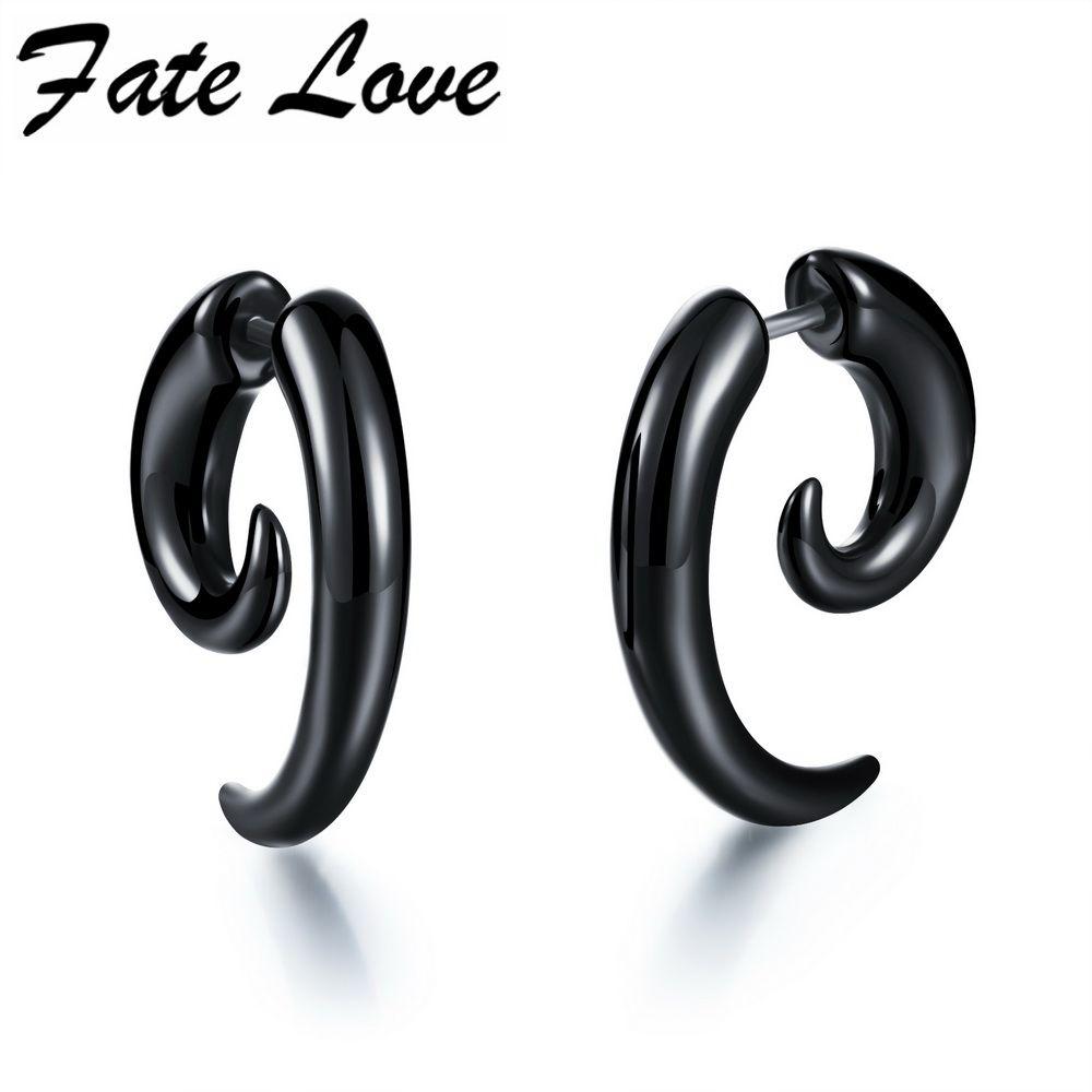 Punk Black Acrylic Earrings For Men Stainless Steel Stud Earrings Fashion  Special Shape Earring Cool Men