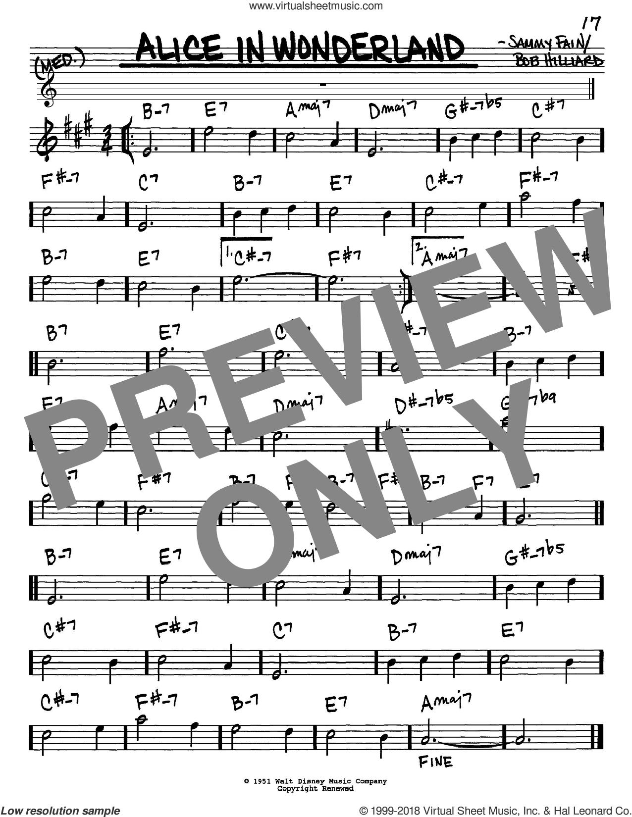 Evans Alice In Wonderland Sheet Music In Eb Pdf Sheet Music Virtual Sheet Music Digital Sheet Music
