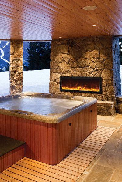 Amantii Panorama Slim 40 Built In Indoor Outdoor Electric Fireplace Bi 40 Slim Hot Tub House Indoor Hot Tub Hot Tub Room