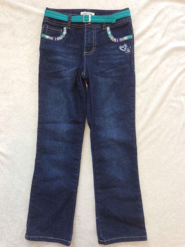 24843ea62a96c Cherokee Jeans 6X Girls Colorful Thick Stitch Trendy Straight Leg Blue  #Cherokee #ClassicStraightLeg