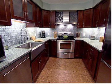 Green Kitchen Chocolate Brown Cabinets Recycled Glass