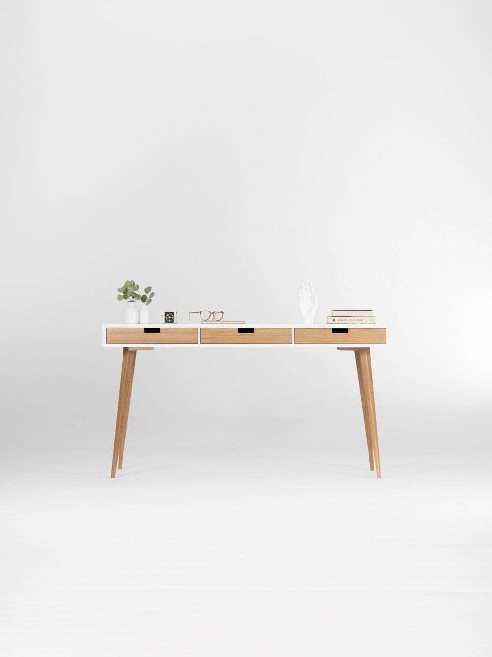 White Wooden Desk With Solid Oak Drawers Mid Century Modern In 2020 White Wooden Desk Solid Oak Wooden Desk