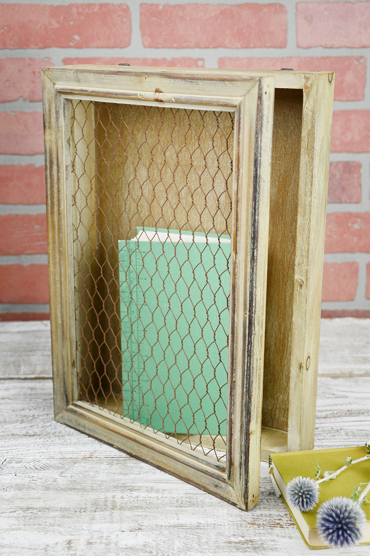 Rustic Wood Chicken Wire Wall Decor, 10x14, Hinged | Pinterest