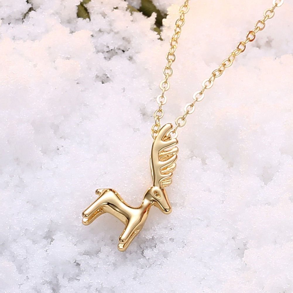 Cute womenus mini christmas elk pendant necklace kt yellowrose