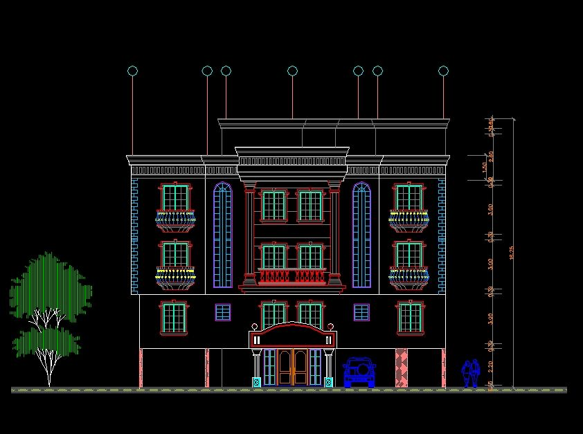 Front Elevation Residential Building Autocad : Building elevation】 cad drawings download blocks urban