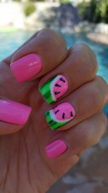 Watermelon Nails Perfect For Summer Watermelon Nails Watermelon Nail Designs Watermelon Nail Art