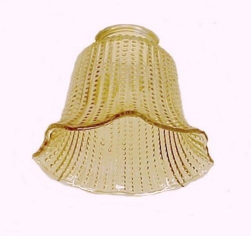 Amber Glass Beaded Ribbed Bell Light Shade Great for Ceiling Fan – Bell Chandelier