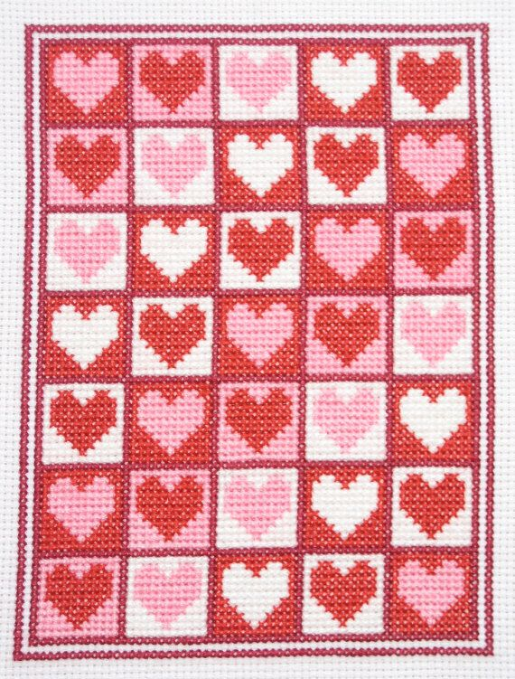 FREE SHIPPING  Valentine  An Original Cross by CrossStitchCards, $9.49