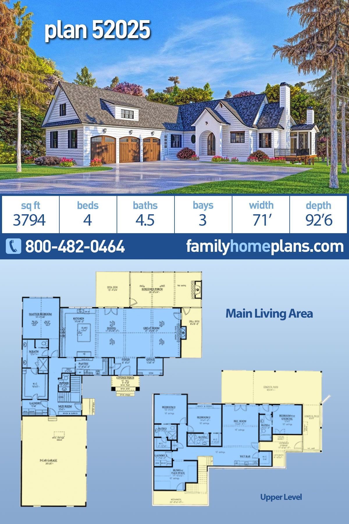 Southern Style House Plan 52025 With 4 Bed 5 Bath 3 Car Garage Lake House Plans Basement House Plans Luxury House Plans