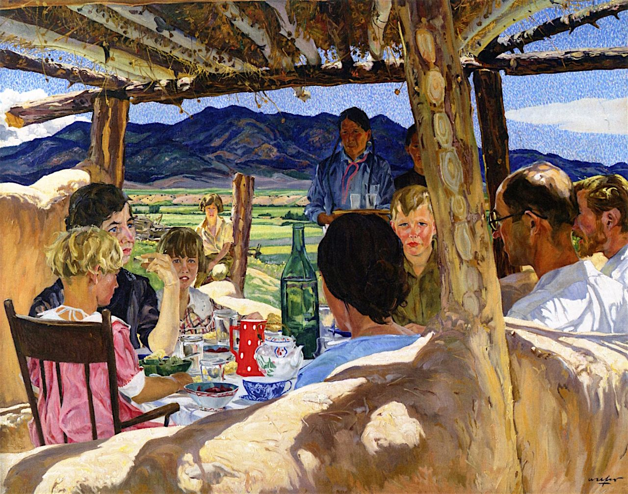 Taos  by Walter Ufer  Giclee Canvas Print Repro Indian Corn