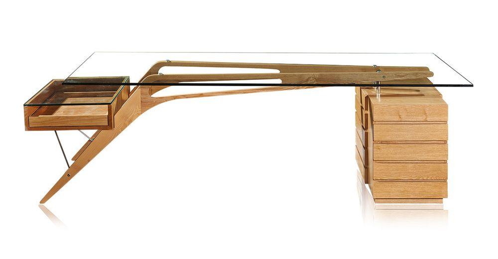 1949 Protractor 98 Desk Natural Oak Mid Century Modern Desk Glass Desk Mid Century Desk