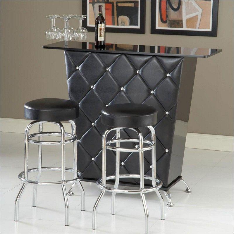 Black Studded Bar By Bernards Furniture 6060tp 6060ba Home Bar Cabinet Bar Furniture Home Bar Furniture