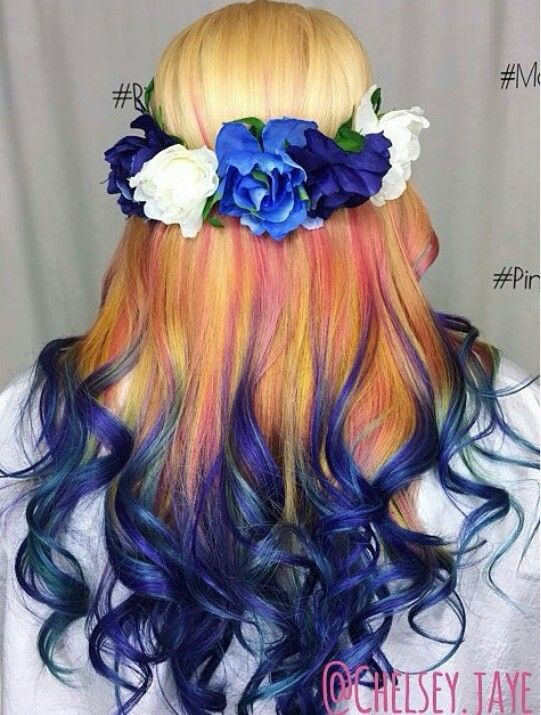 Blonde Blue Ombre Dyed Hair Colorful Hair Pinterest Blue Ombre