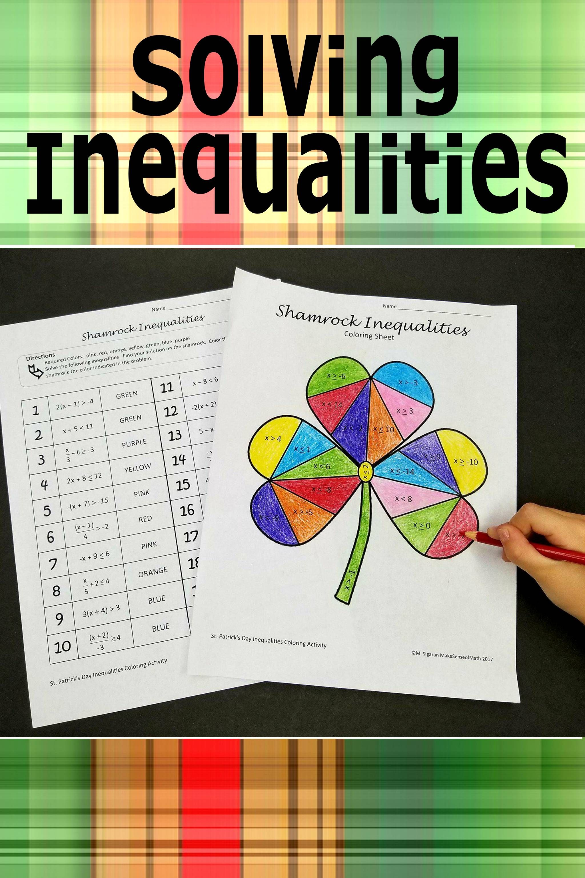St Patrick S Day Solving Inequalities Coloring Activity