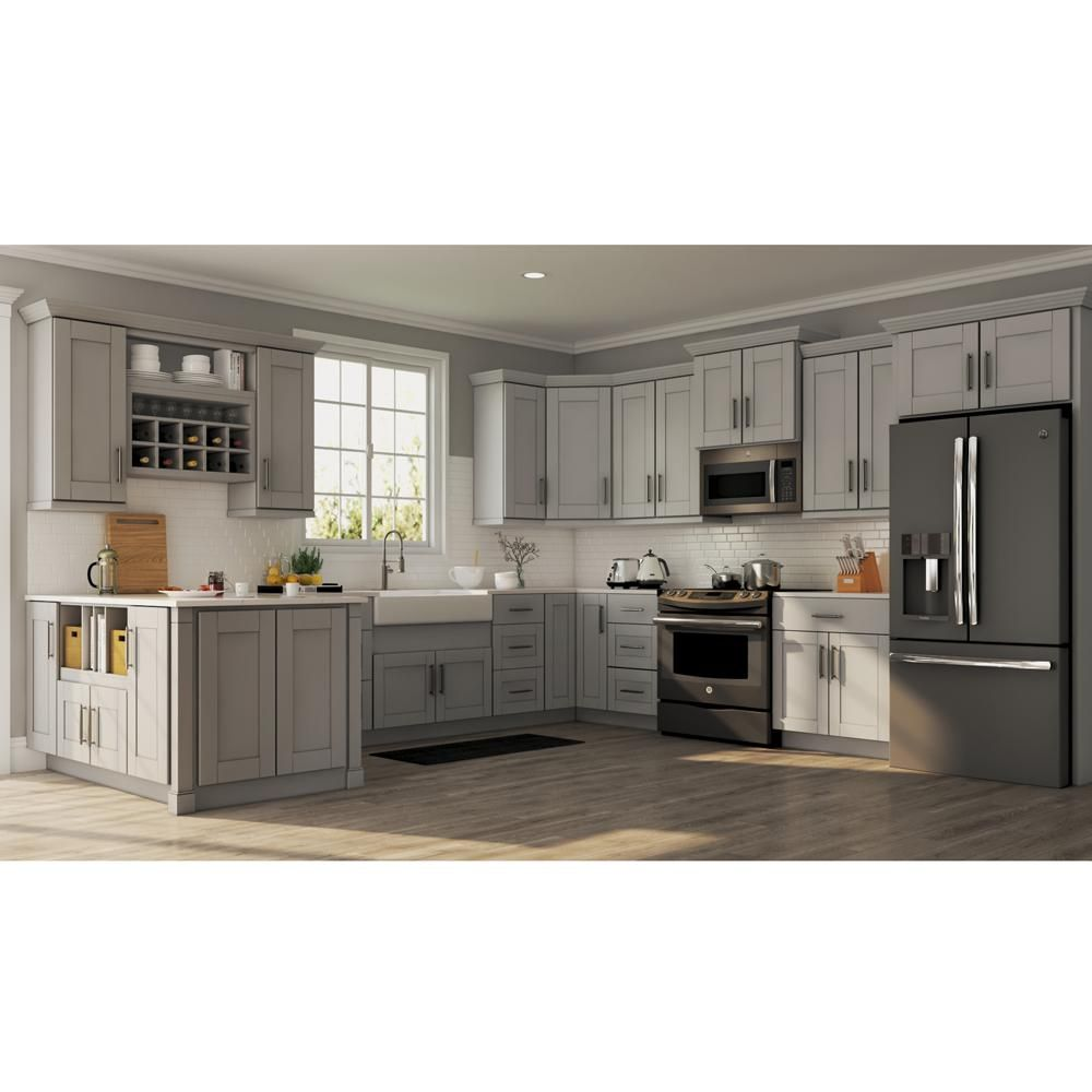Hampton Bay Shaker Assembled 24 X 34 5 X 21 In Bathroom Vanity Base Cabinet In Dove Gray Kvsb24 Sdv The Home Depot In 2020 Modern Kitchen Cabinet Design Refacing Kitchen Cabinets Kitchen Cabinets