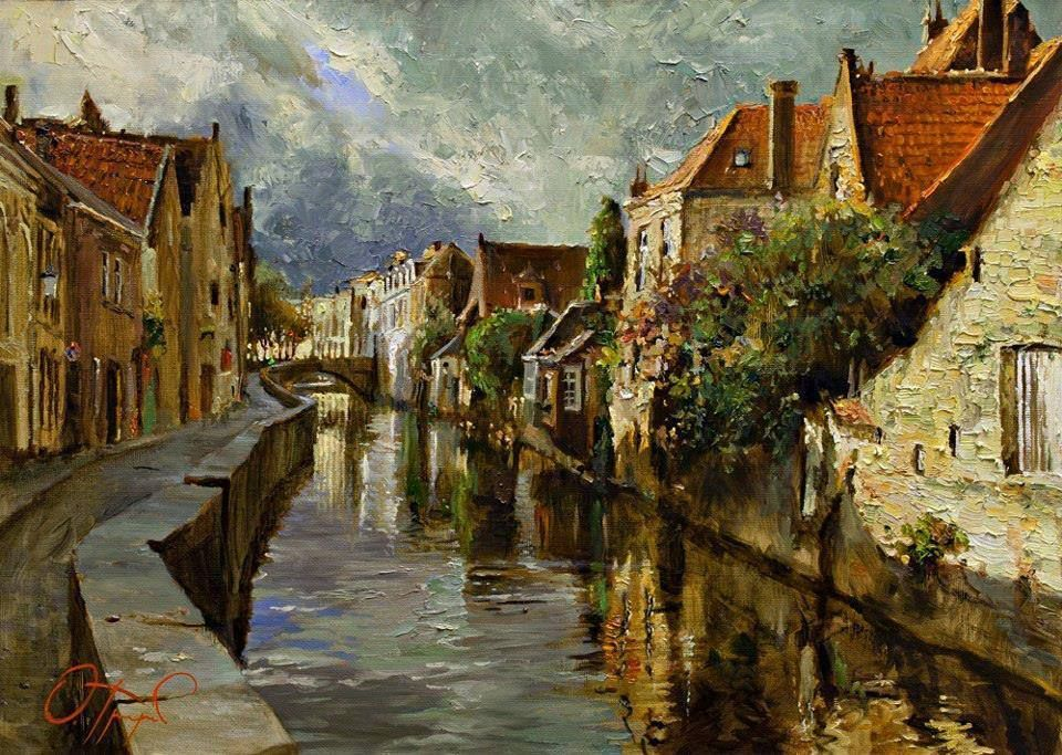 Canal in Bruges by Oleg Trofimov #russian #art #impressionism