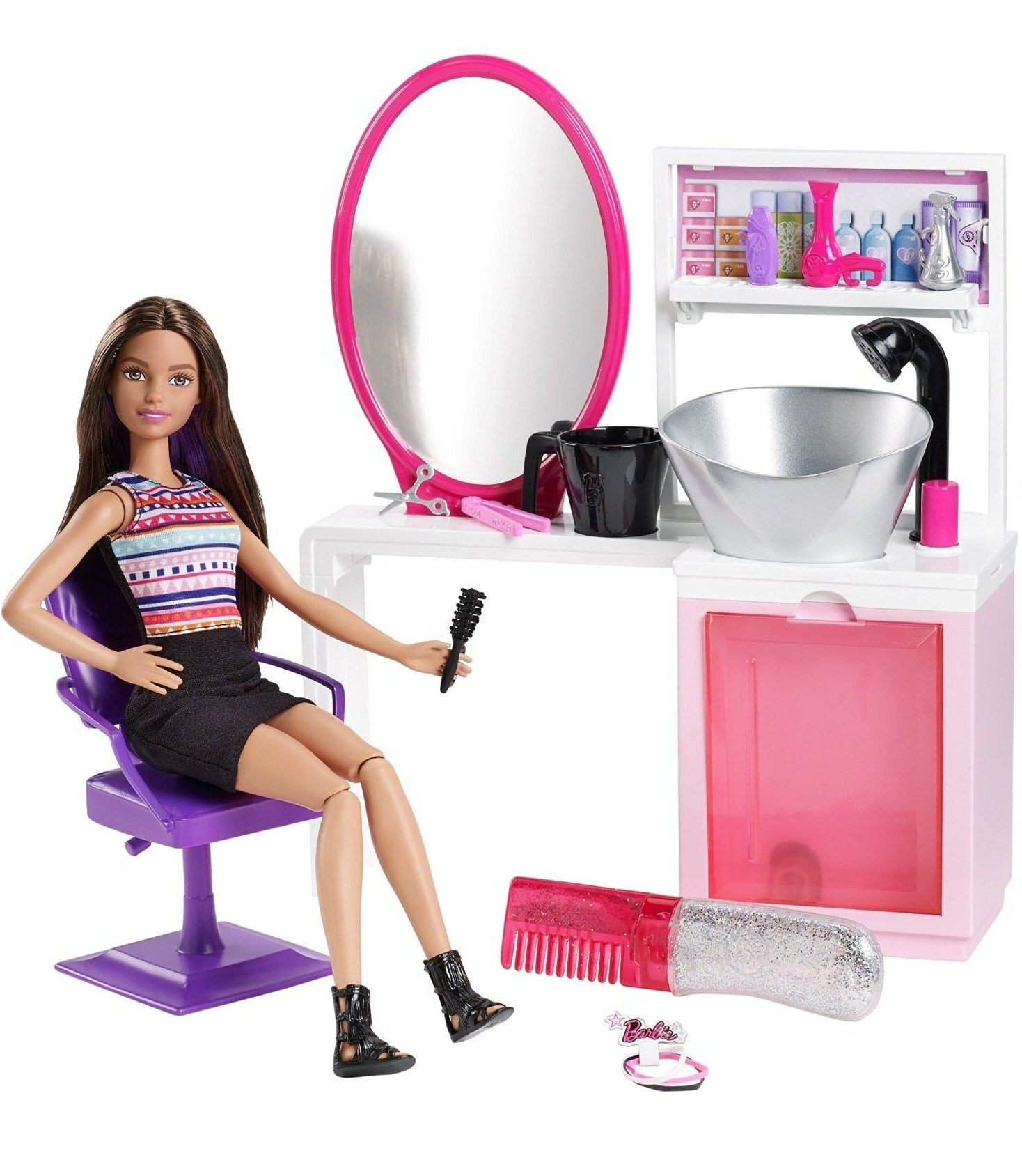 Набор Barbie Блестящие прически Брюнетка | Barbie.Ru | Барби в России